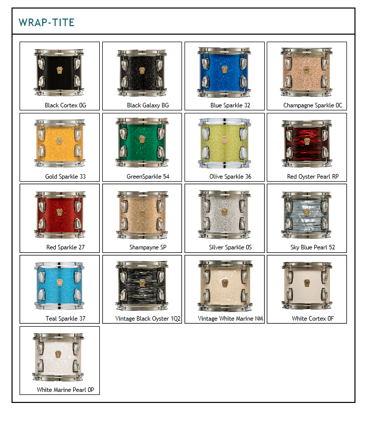Ludwig Legacy Classic Maple drums come in a variety of colors including black cortex. blue sparkle, chanpagne sparkle, white marine pearl, black oyster, sky blue pearl, teal and to name a few.  Pick your ludwig legacy drum color, let us custom configure your ludwig drum kit today with legacy components.  For sale online or in our Ludeig drum shop, we're a full service ludwig dealer.