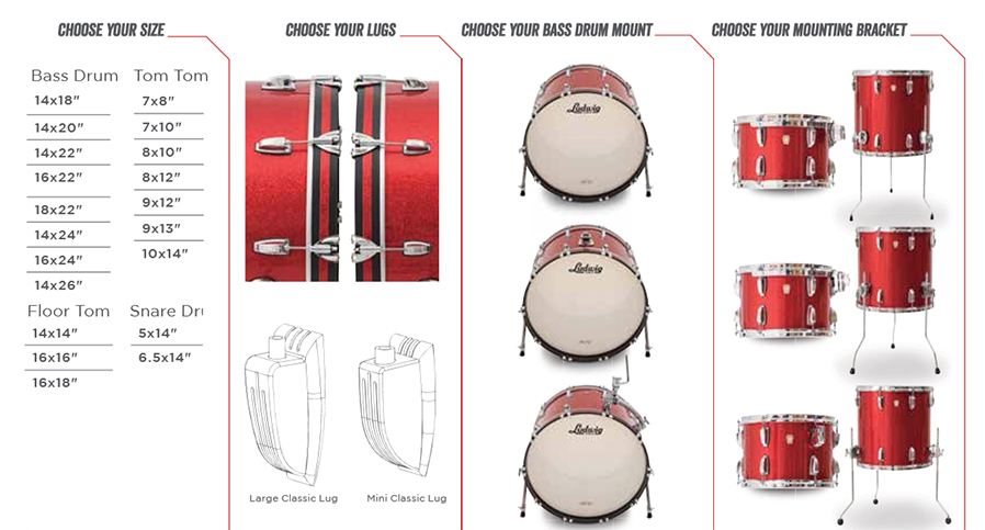 Ludwig classic maple quick pick drum hardware options and size options