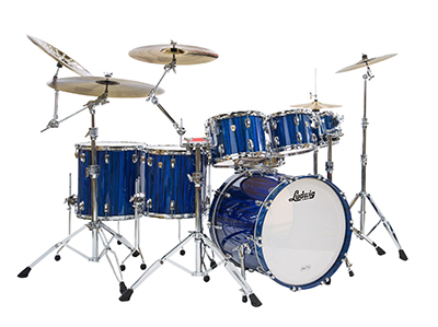 New Ludwig Electrostatic Blue classic maple drum kit.