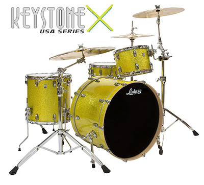 Ludwig keystone x probeat drum kit in yellow glitter finsih.