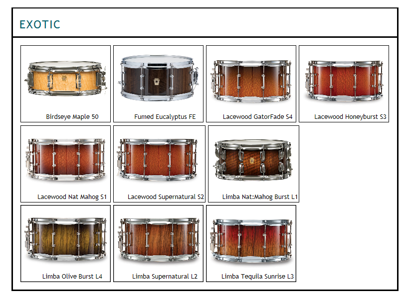 ludwig legacy exotic wood finishes.  Colors inlcude birdseye maple, fumed eucalyptus, lacewood, honeyburst, mahogany, lacewood supernatural, tequila sunrise, limba oplive burst and more.  Let us custom configure your legacy drum kit with legacy components.
